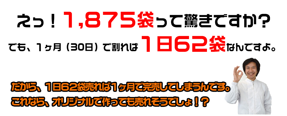 えっ!1,875袋って驚きですか?でも、1ヶ月(30日)で割れば1日62袋なんですよ。